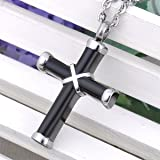 Cremation Jewelry Hawser Cross Pendant Memorial Urn Necklace for Ashes,Black Silver