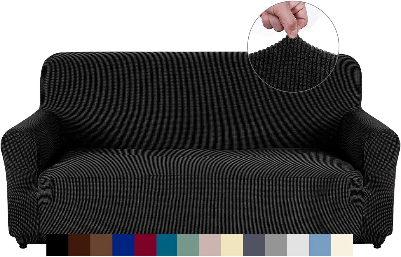 AUJOY Couch Cover Stretch 1-Piece Sofa Slipcover for 3 Cushion Couch Jacquard Spandex Fabric Furniture Protector with Anti-Slip Foams (Sofa, Black)