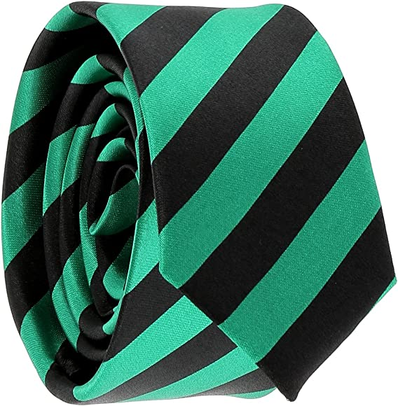 cravateSlim Corbata Estrecha de Rayas Negra y Verde Oscuro: Amazon ...