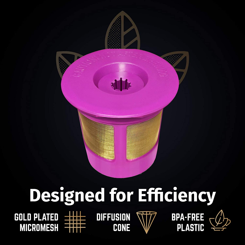 6-Pack Reusable Gold Plated Mesh Coffee Filters For Keurig 2.0 and 1.0 Brewers Fits K200//K250 K500//K550//K560 K400//K450//K460 K300//K350