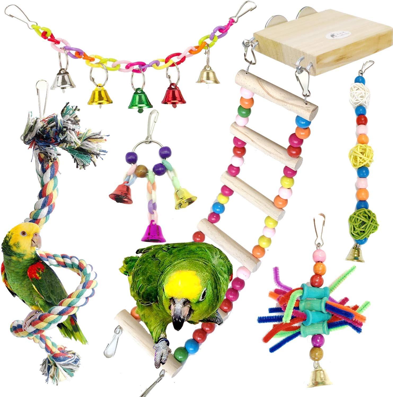 Juguetes para Pájaros, PietyPet 6 Piezas Madera Perchas con Escalera, Columpios Pájaros Juguetes , Hamaca de Madera, Que cuelga la Perca Juguete para pequeños y medianos loros de aves