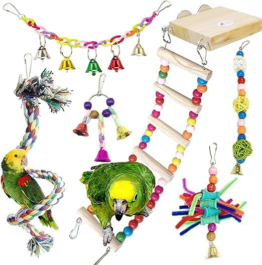 Juguetes para Pájaros, PietyPet 6 Piezas Madera Perchas con Escalera, Columpios Pájaros Juguetes , Hamaca de Madera, Que cuelga la Perca Juguete para pequeños y medianos loros de aves: Amazon.es: Productos para