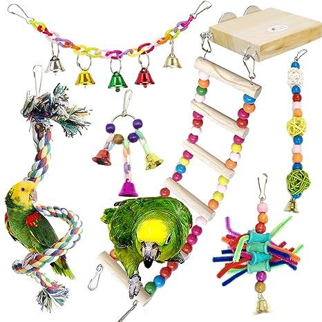 Juguetes para Pájaros, PietyPet 6 Piezas Madera Perchas con ...