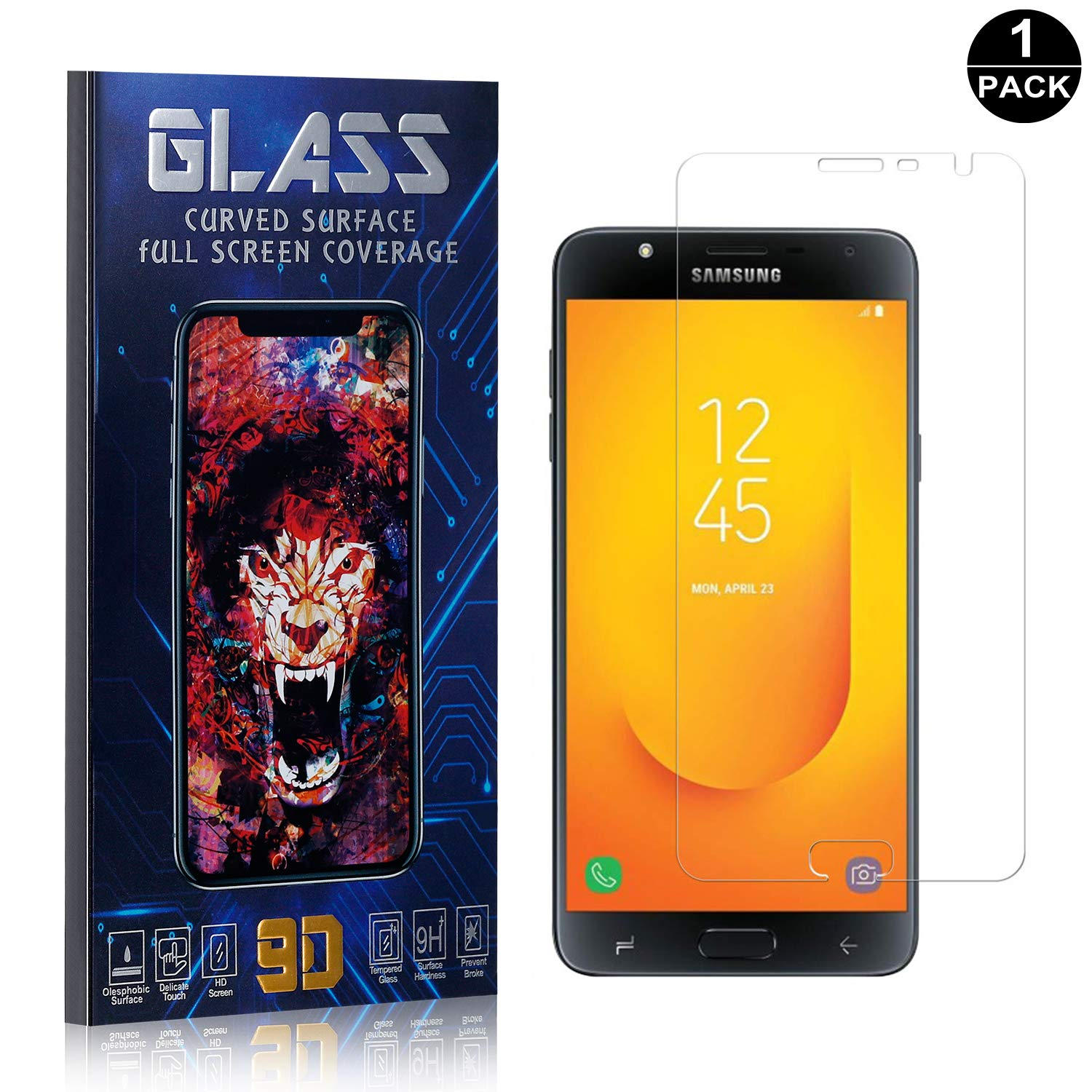 Bear Village Screen Protector for Galaxy J7 Duo 1 Pack Scratch Resistant Ultra Clear Tempered Glass Screen Protector Film for Samsung Galaxy J7 Duo