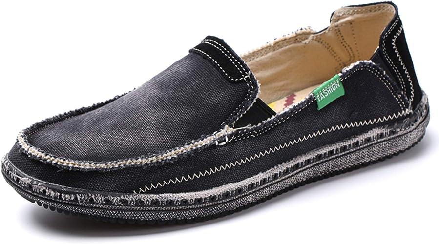 Mens Canvas Shoes Slip on Deck Shoes
