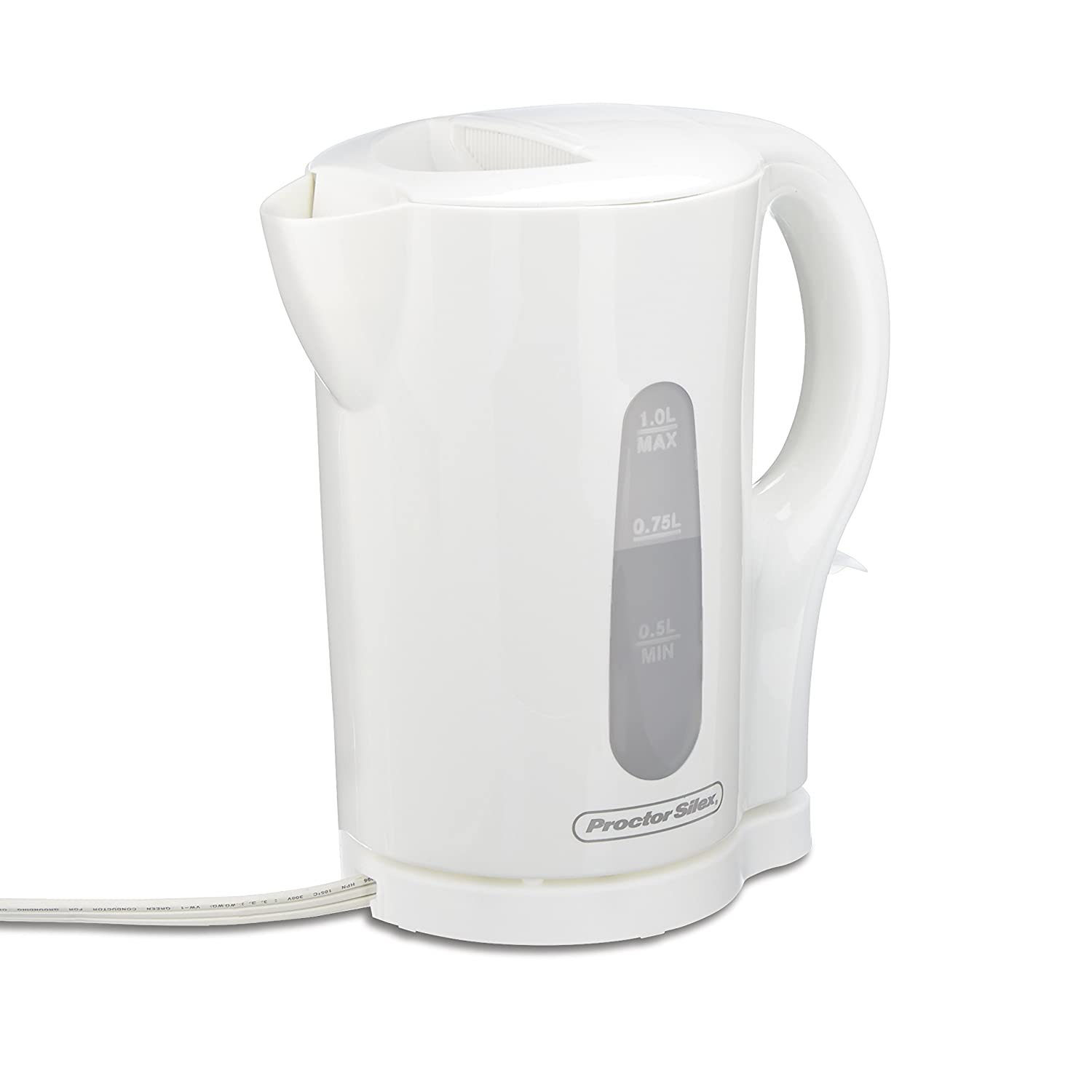 Proctor Silex 1 Liter Electric Kettle for Tea and Hot Water Cordless, Auto-Shutoff and Boil-Dry Protection, White 41005 ,