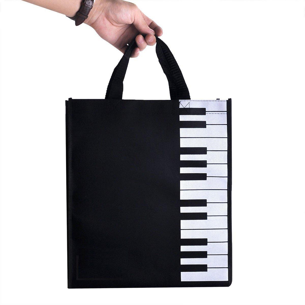 音楽ピアノトートバッグ、bestsounds防水オックスフォード布Reusable Grocery Bag , Best For Toting音楽書籍、スタッフ、ピアノバイオリンレッスン B06WVPF6VN