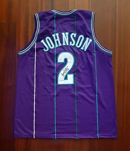 8ea1ab5d4 Image Unavailable. Image not available for. Color  Larry Johnson (NBA)  Autographed Jersey - Charlotte Hornets ...