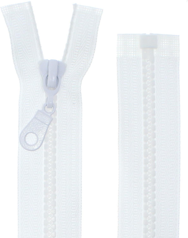 FIM - Cremallera de plástico con dientes del nº 5, tamaño medio, con separador, para chaquetas, 2 - Reinweiß(101), 60 cm