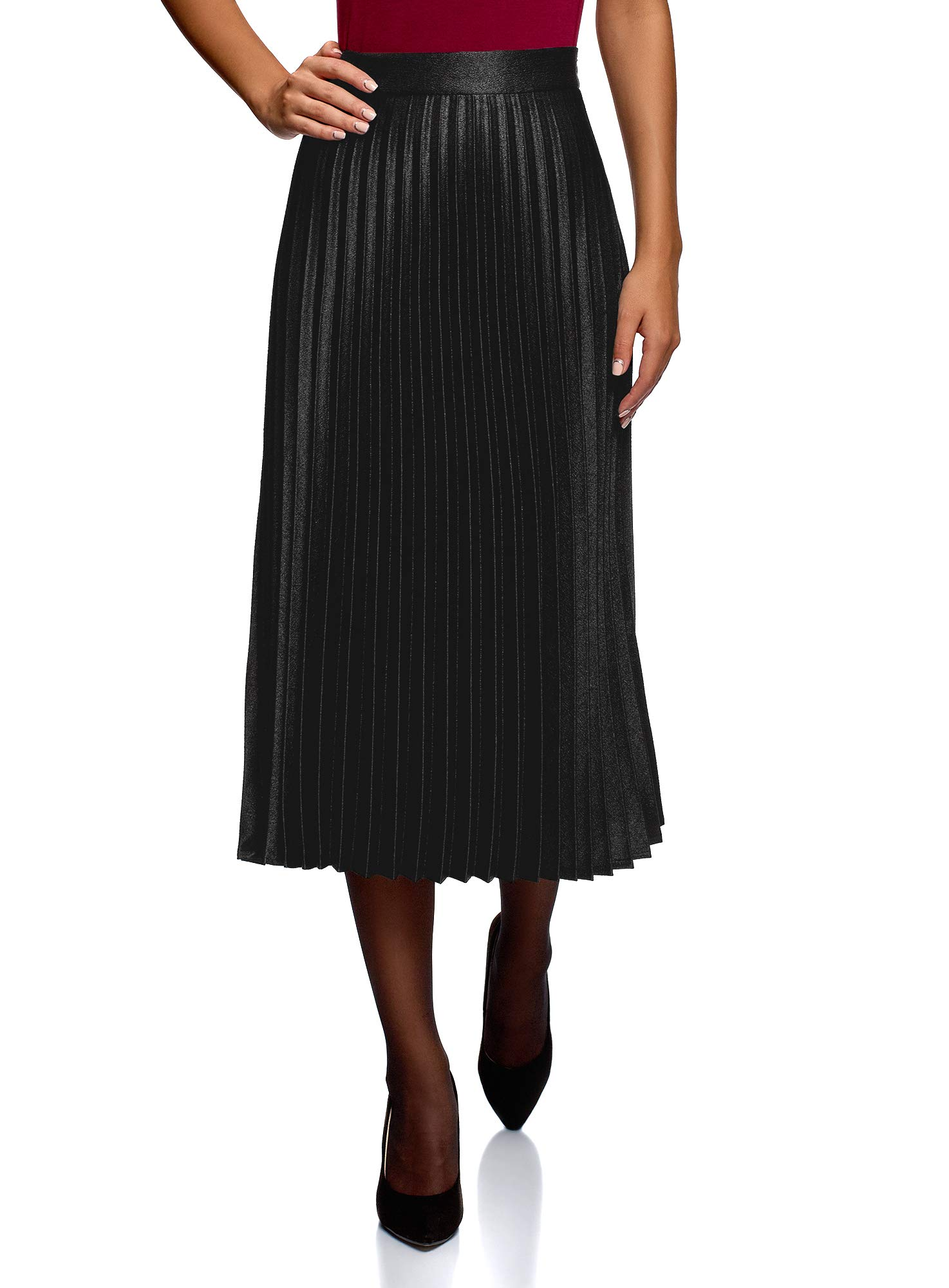 oodji Collection Women's Long Accordion Pleated Skirt, Black, 6 by oodji