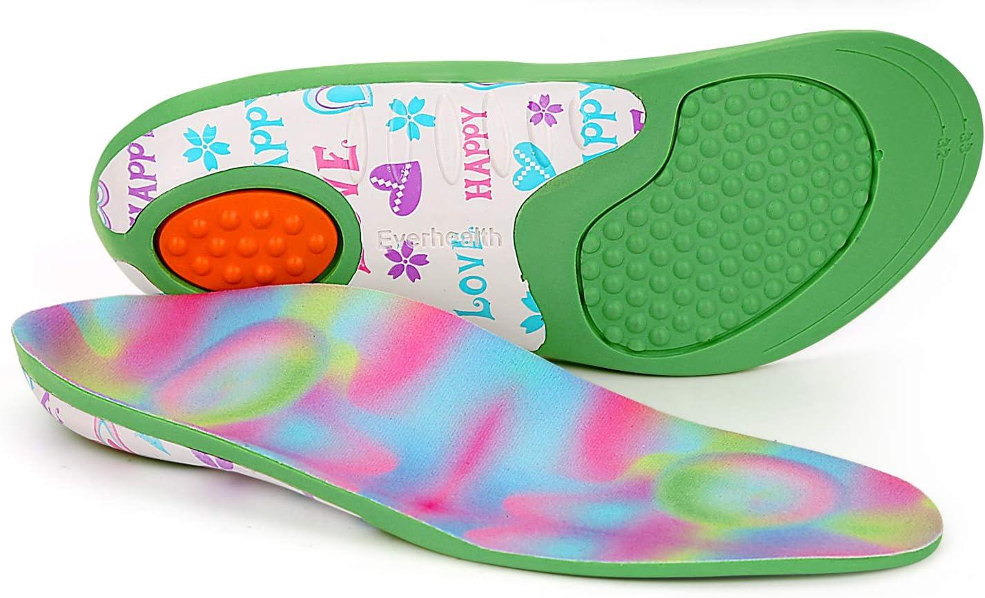 Plantillas para niños Insertos de zapatos Ortesis Comfort Arch Support, Suela interna que absorbe los golpes Cojines para el talón, Pies planos, Pronación por debajo/por encima (32-34 EU)