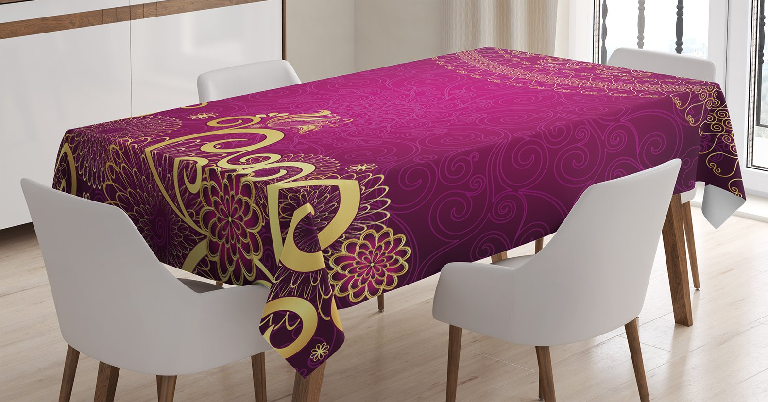 Ambesonne Purple Decor Tablecloth, Ethnic Indian Mandala Circle with Ornate Swirling Details Asian Royal Arabesque Theme, Rectangular Table Cover for Dining Room Kitchen, 60x84 Inches, Violet Gold