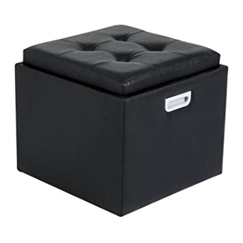 HomCom 14u0026quot; Tufted Square Storage Ottoman With Tray   Black