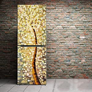 yazi Customized Door Fridge Sticker Closet Cover Apricot Tree Self Adhesive Wall Decal Hallway Mural 23x59 Inch