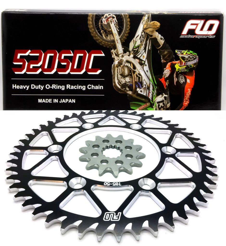 FLO MOTORSPORTS O-RING CHAIN AND SPROCKET COMBO KIT YAMAHA YZ125 / YZ250F 13T FRONT / 48 - 53 TOOTH REAR SPROCKET (49T, BLACK)