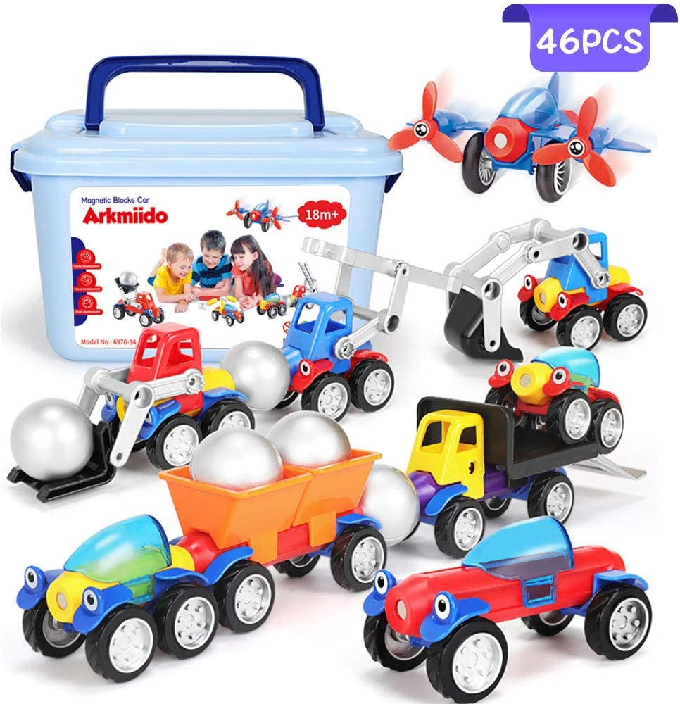 Magnetic Toy Cars Set, Assembly Car Toys with 46 Set, Early Educational & Development Toys for 3 4 5 6 7 Years Old Boys and Girls Gifts