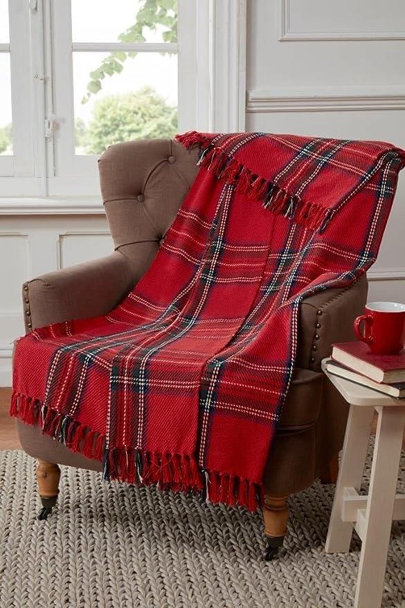 Tartan – Manta de diseño de Cuadros para sofá, Silla o Cama, de algodóny Color Rojo