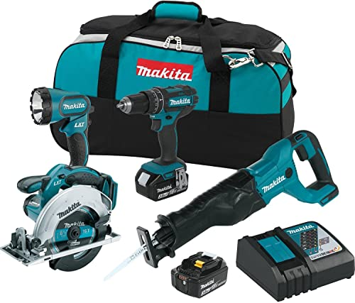 Makita XT442 18V LXT 3.0 Ah Lithium-Ion Cordless Combo Kit 4 Piece
