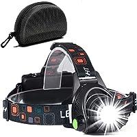 Cobiz Stirnlampe, Wasserdicht USB wiederaufladbar Zoombare Led Stirnlampe/Kopflampe, 90 Grad Winkel Verstellbare Stirnlampen für Laufen, Radfahren, Wandern, Camping, Angeln, Tischarbeit, buch lesen