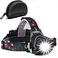 Cobiz Head Torch,Zoomable 6000 Lumen Waterproof USB Rechargeable Head Torches, 90 Degree Angle Adjustable Led Headlamp, 3 Modes Light Weight Led Torch for Camping,Running,Hiking,Kids