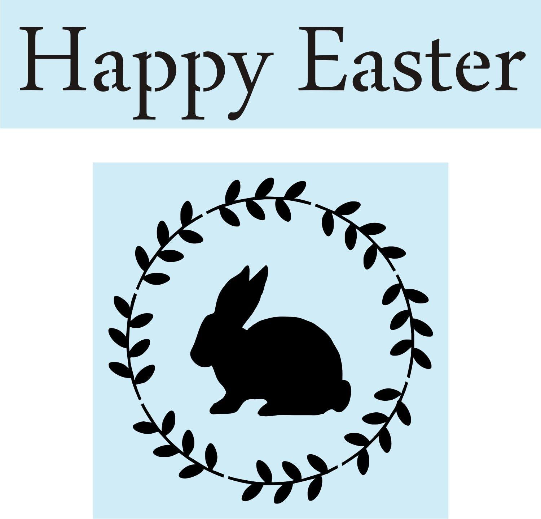 Happy Easter Blue Bunny Wreath