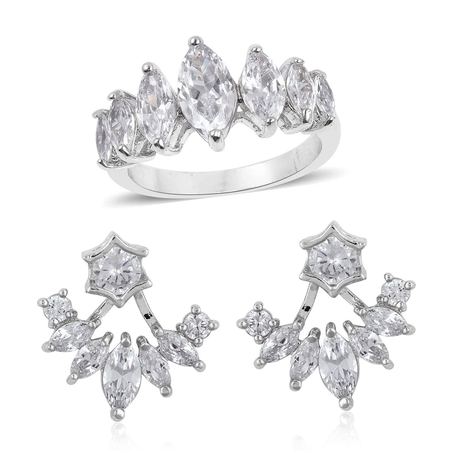 Silvertone Round White Cubic Zirconia Statement Ring Size 7 Earring Set for Women Cttw 2.9