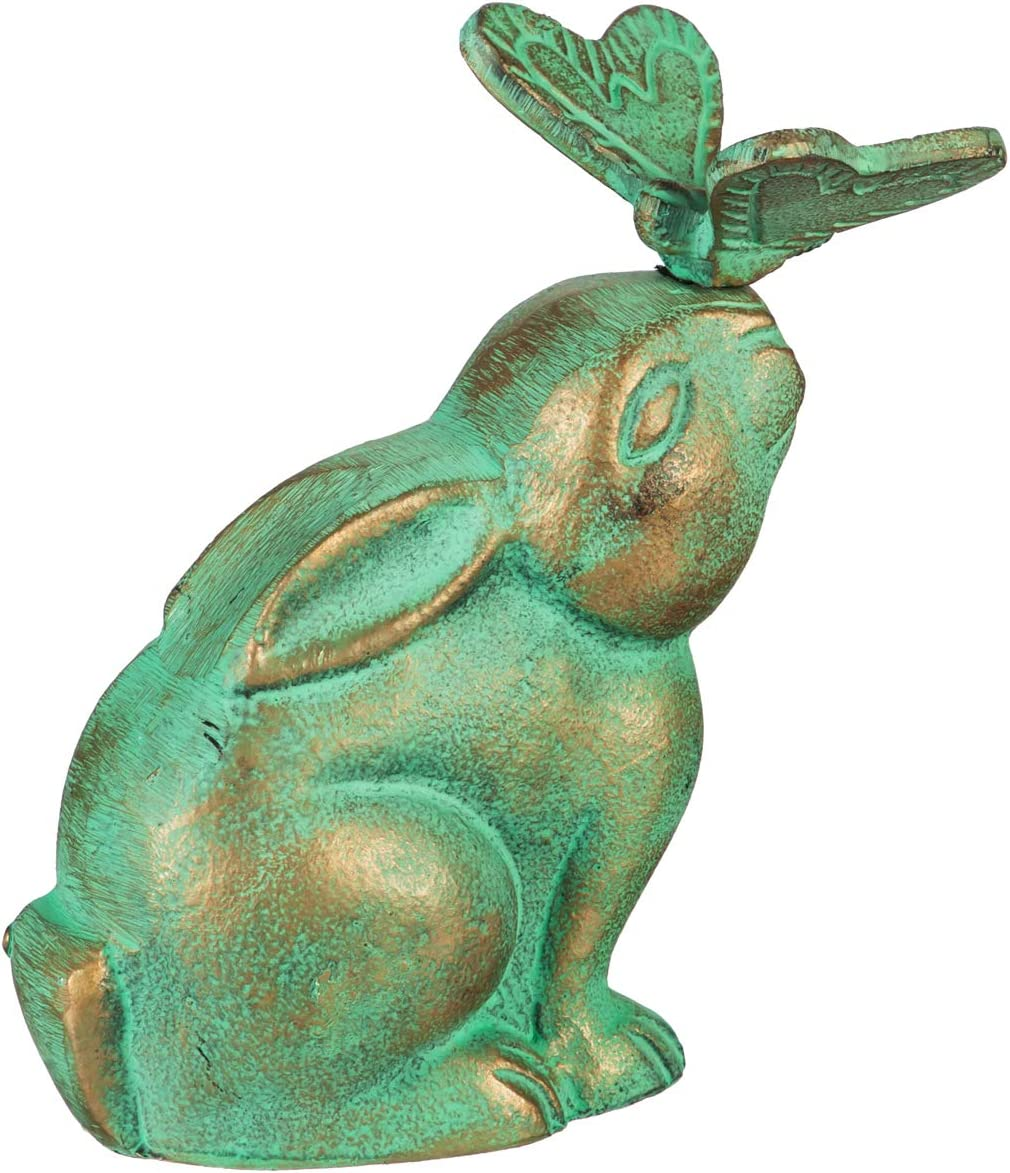 Evergreen Garden Beautiful Summer Rabbit and Butterfly Metal Garden Statue - 7 x 4 x 8 Inches Fade and Weather Resistant Outdoor Decoration for Homes, Yards and Gardens