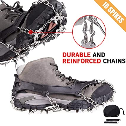 cadff15a1c2 Cycorld Crampons Traction Ice Cleats with 18 Teeth Stainless Steel, Ice  Snow Spikes Shoes Grip, Crampons for Hiking Boots, Climbing Snowshoe Chain  ...