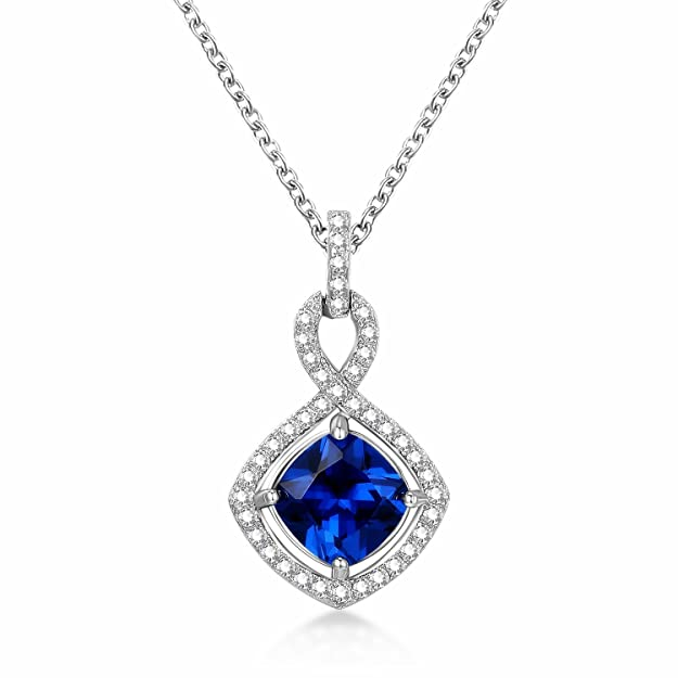 GuqiGuli Mothers Day Gifts Jewelry Sterling Silver Created Blue Sapphire Infinity Pendant Necklace for Women, 18''