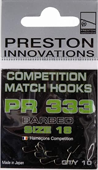 Various Sizes Preston Innovations PR333 Competition Barbed Match Hooks