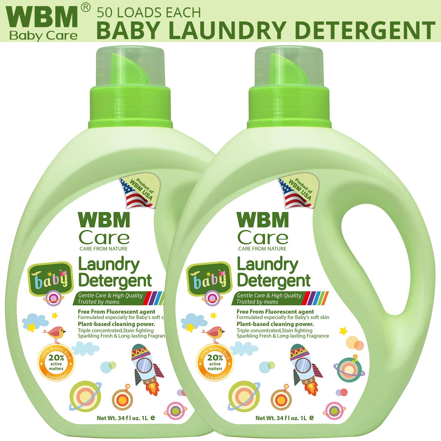 WBM Care High Quality Liquid Laundry Detergent   Free From Flourscent - Long Lasting Fragrance  34 oz , 50 Loads Each (2 Pack) by WBM LLC