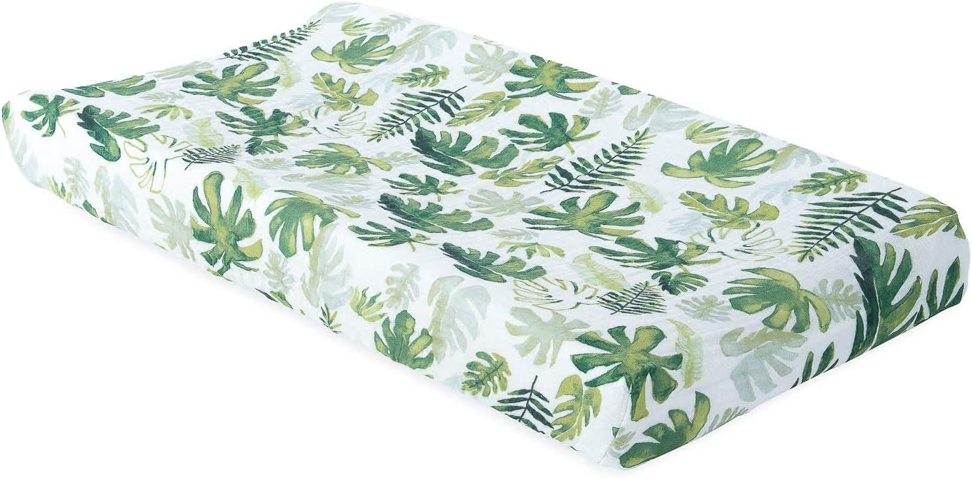 Tropical Leaf Little Unicorn Cotton Muslin Changing Pad Cover