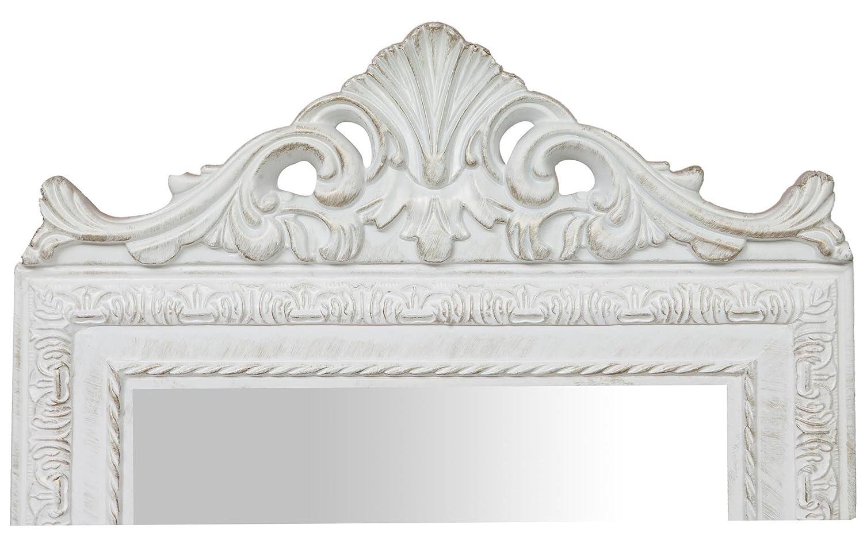 Specchio Specchiera da terra in legno 40x3x140 cm finitura bianco anticato Ideale per la camera da letto
