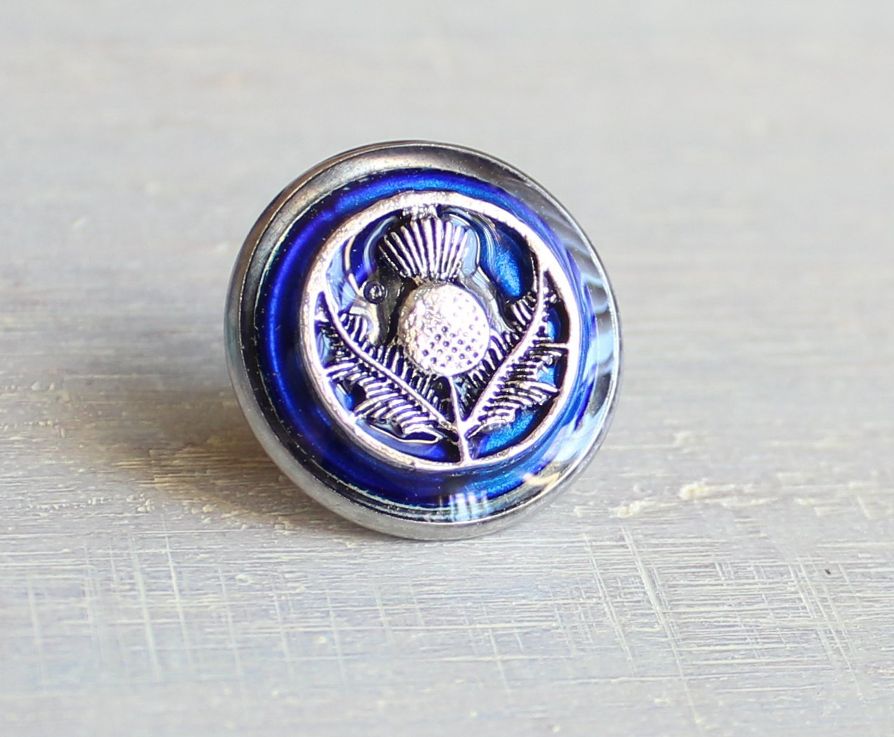 Royal blue Scottish thistle tie tack / lapel pin.