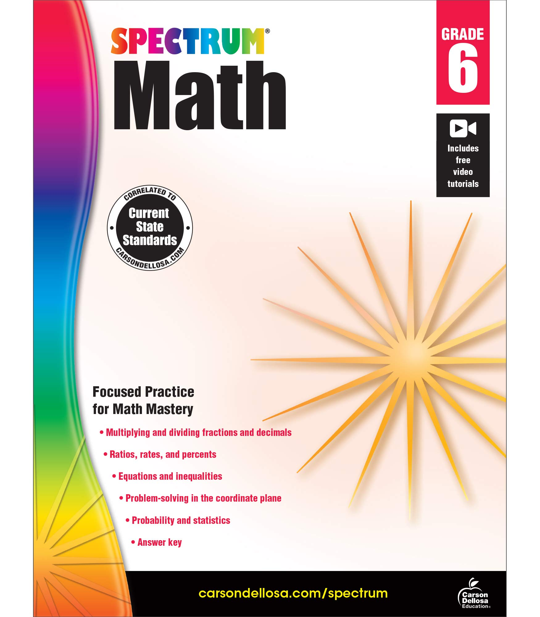 Spectrum 6th Grade Math Workbook—Multiplication and Division of Fractions and Decimals, Geometry With Examples, Tests, Answer Key for Homeschool or Classroom (160 pgs)