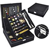 Jewelry Box for Women, QBeel 2 Layer 36 Compartments Necklace Jewelry Organizer with Lock Jewelry Holder for Earrings…