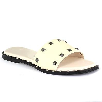4070eac0c Amazon.com: Seven7 Women's Duo Slides Vegan Leather Studded Flat Sandal  Open Toe: Shoes