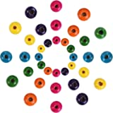 Outus 1000 Pieces Round Wood Beads Assorted Color Wooden Beads for DIY Jewelry Making, 8 mm, 10 mm and 12 mm