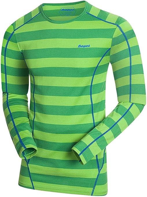 Bergans - Camiseta térmica - para niña verde verde a rayas medium: Amazon.es: Ropa y accesorios