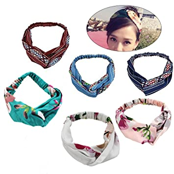 Amazon.com   6 pcs Women Headband Elastic Head Wrap Floral Printing Cross Hair  Band Headband for All Hair Styles   Beauty 12742bf1bdd