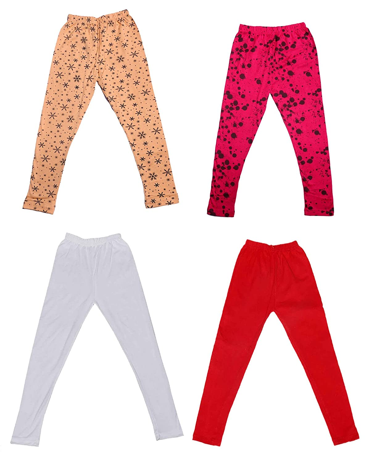 Indistar Girls 2 Cotton Solid Legging Pants and 2 Cotton Printed Legging Pants Pack Of 4 /_Multicolor/_Size-4-5 Years/_71403041920-IW-P4-26