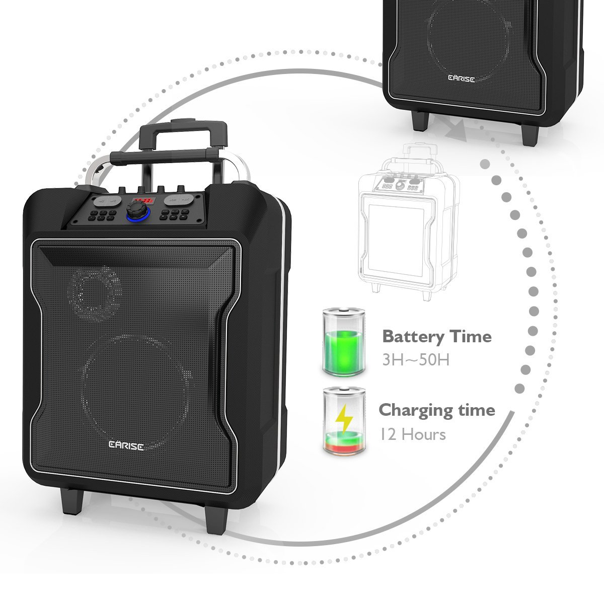 EARISE M60 Audio Portable PA System Bluetooth Loudspeaker with 2 Wireless Microphone,10'' Subwoofer, Remote Control, Aux Input, Soft Metal, LED Display, Telescoping Handle, USB Charging & Wheels, Black by Earise (Image #4)