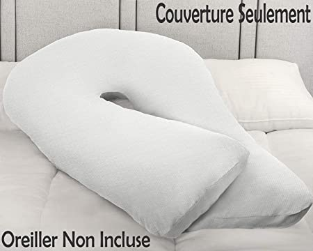 Comfort U-Shaped Pregnancy//Maternity Pillow Case Cover Full Body Support White