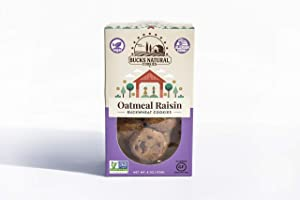 BUCKS NATURAL BUCKWHEAT OATMEAL RAISIN COOKIES - Allergy Free, Gluten Free, Non GMO, Vegan, Dairy Free, Nut Free, School Safe, Locally Sourced, and Guilt Free Cookie (1 Pack)