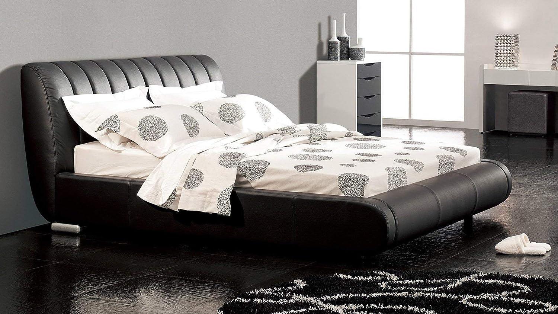 Zuri Furniture Dior Leather Contemporary Platform Queen Bed- Black