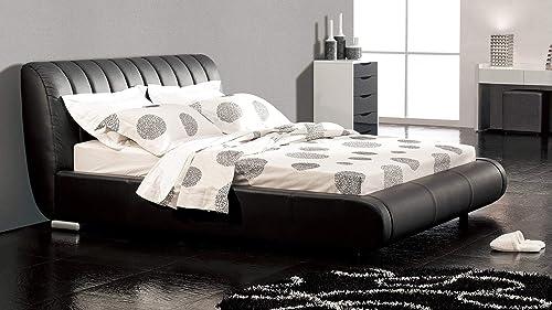 Zuri Furniture Dior Leather Contemporary Platform Queen Bed