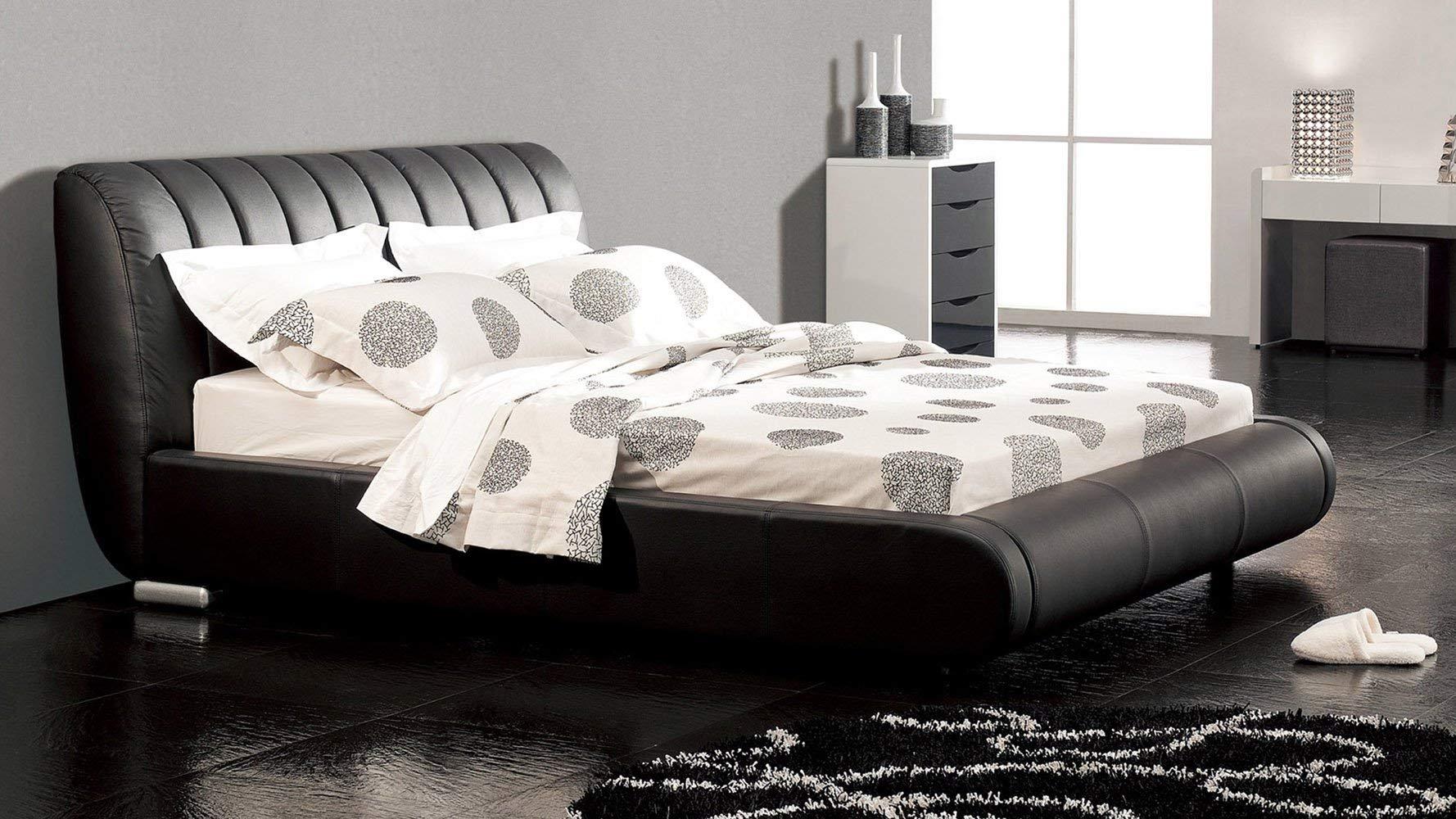 Zuri Furniture Dior Leather Contemporary Platform Queen Bed- Black by Zuri Furniture