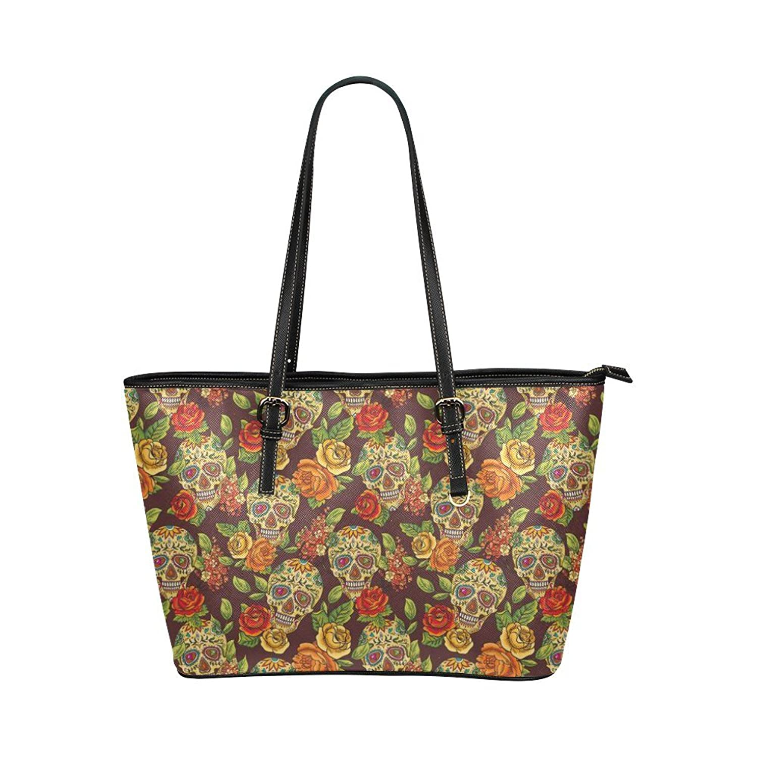 Interestprint Custom Shoulder Bag sugar skull pattern Leather Tote Bag Large