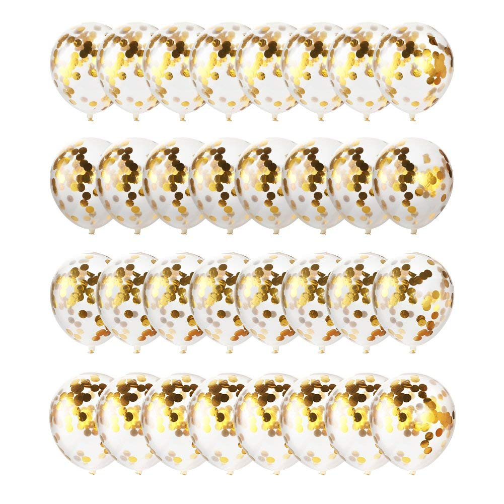 ゴールド紙吹雪バルーン32パック| 12インチクリアラテックスballoons| with Golden紙吹雪|誕生日、結婚式、提案、ベビーシャワーパーティー装飾   B07DZWTVVR