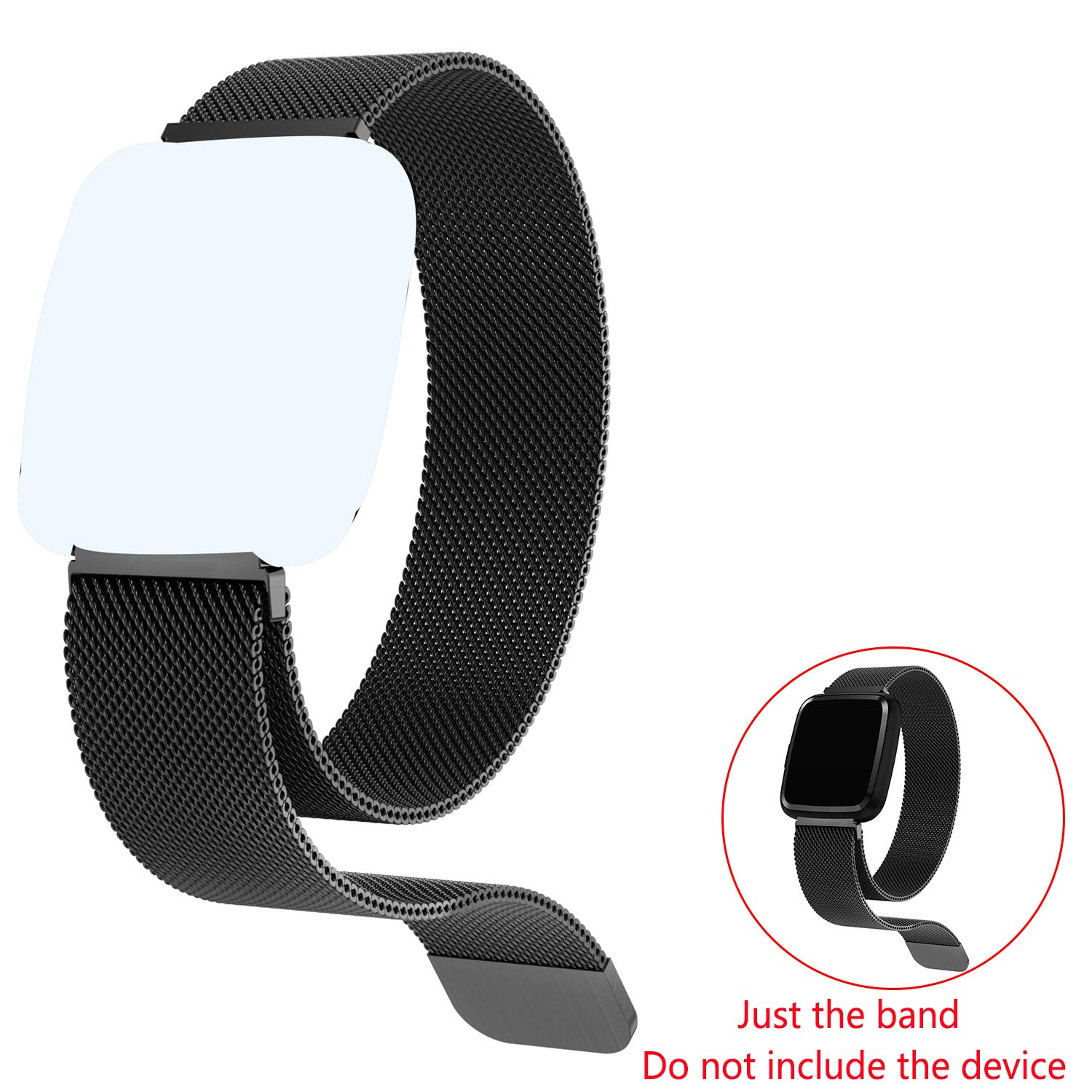 feifuns Replacement Band Fitness Tracker Watch, Magnetic Closure Stainless Steel Watch Band(Black)